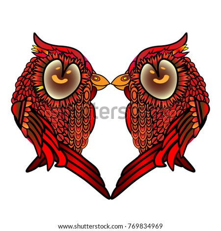 two kissing birds heart with
