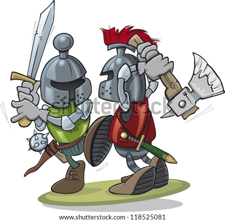 two knights fighting
