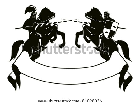 two knights fighting on horseback combat embarked on its hind legs, the bottom of the tape for signs