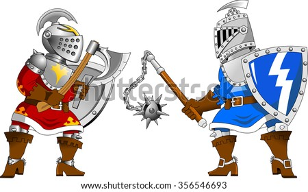 two knights in red and blue