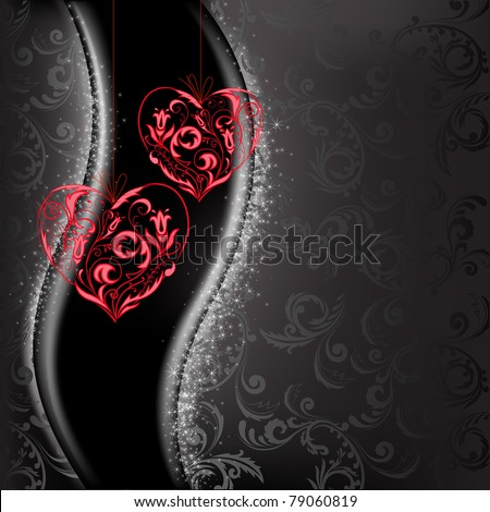two lacy red hearts on a black