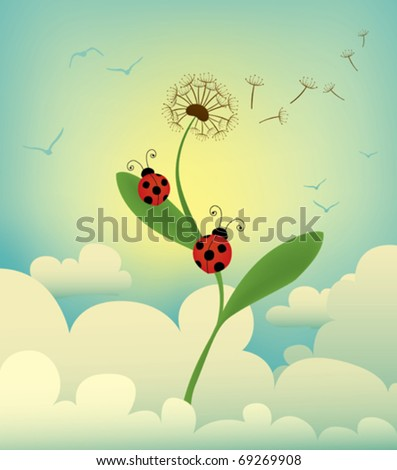 two ladybird reaching the top of a dandelion among the clouds