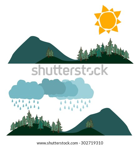 Two landscape weather banners in flat style with Sun and rainy clouds, conifer forest on the foreground. Vector illustration, isolated on white