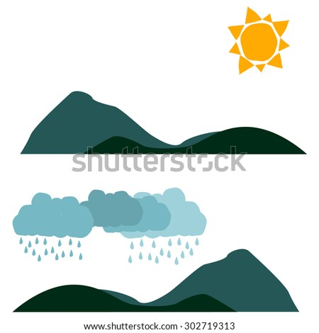 Two landscape weather banners in flat style with Sun and rainy clouds. Vector illustration, isolated on white