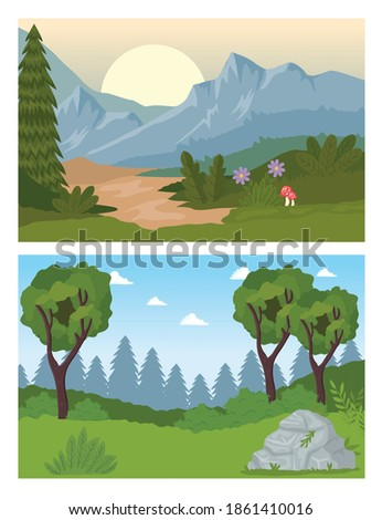 two landscapes scenes with