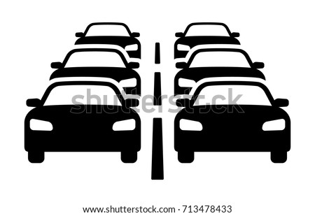 two lanes of heavy car traffic