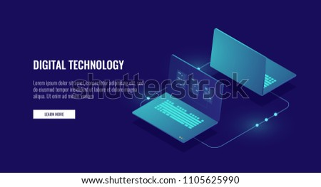 Two laptop computer exchanging data, data encryption, protected connection concept isometric vector