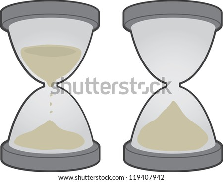 Two large hourglass objects isolated