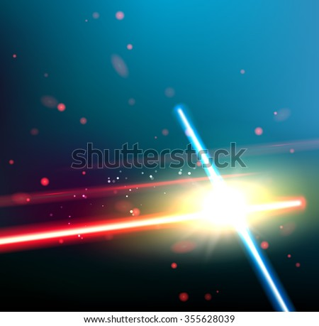 two laser rays are crossed over
