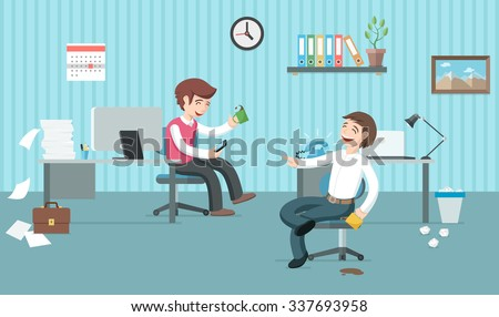 two lazy office workers have a