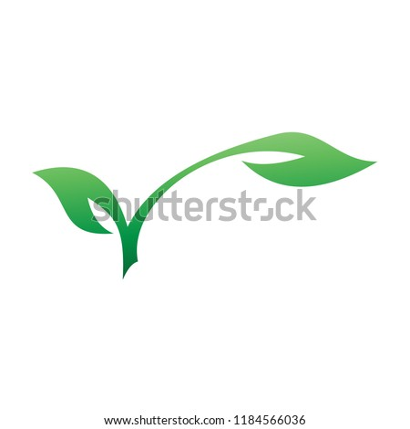 two leaf buds logo template