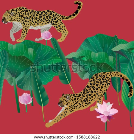 two leopards on a red