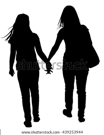 two lesbian girls hand to hand