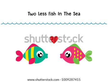 two less fish in the sea wedding invitation card vector. cute graphic cartoon ocean fish wedding greeting card illustration. valentine card with two fish in the sea.