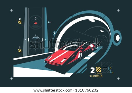 two levels cars tunnel with map