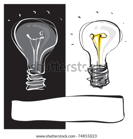 two light-bulbs black & white dynamic freehand line style
