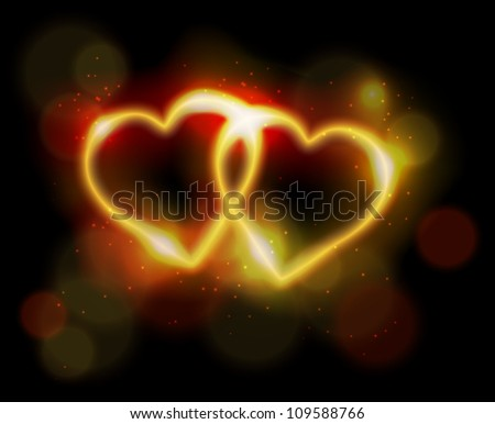 Two ligth neon hearts on black background. Eps10 vector.