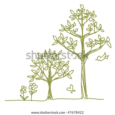 two line drawn trees - stock vector
