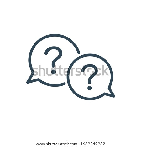 Two linear chat speech message bubbles with question and exclamation marks. FAQ or Forum icon. Communication concept. Stock vector illustration isolated on white background.