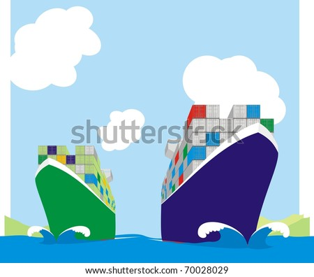 Two liner boxships racing for berthing window - Container vessels steaming at full speed color vector illustration