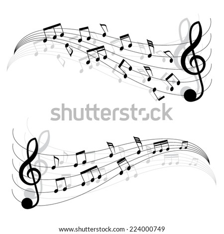 Two little black musical notes on moving chords. A vector illustration.