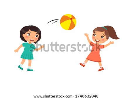 two little cute girls play with
