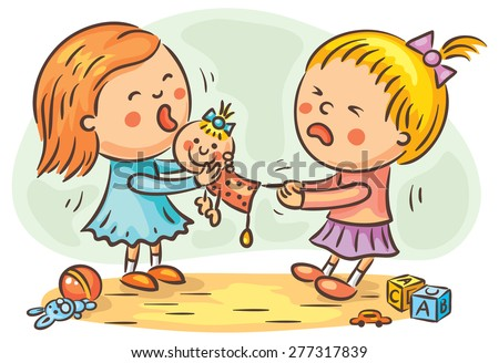 two little girls are fighting