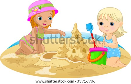 two little girls building a