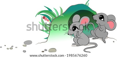 two little mice are hiding near