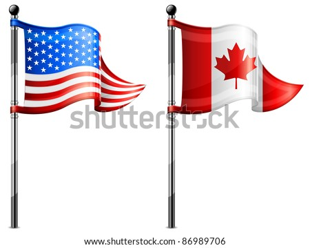 Two little USA & Canada triangle flag on flagpole, vector illustration