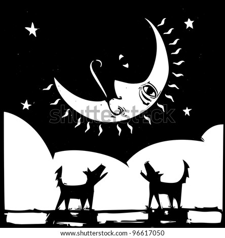 Two lonely dogs howling at a crescent moon with a face.