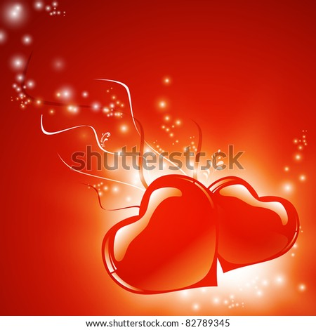 Two love red hearts over bright background