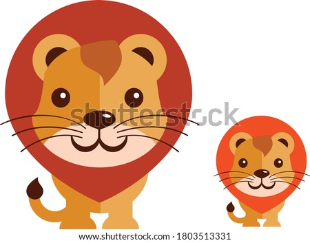 two lovely lion family vector
