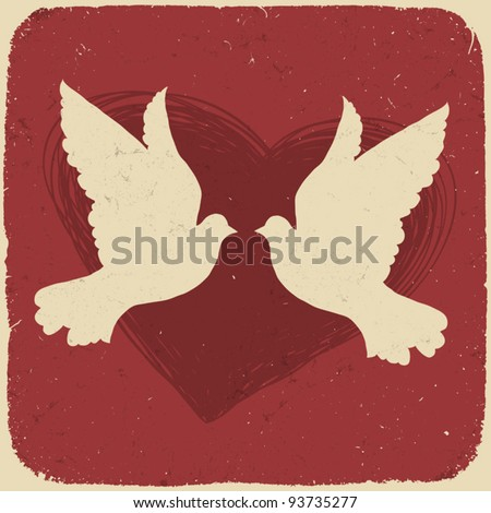 Two lovers doves. Retro styled illustration, vector, EPS10 - stock vector