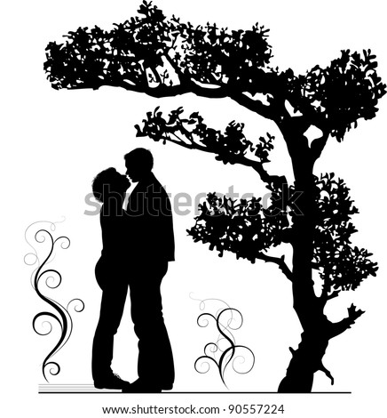 two lovers embraces under a