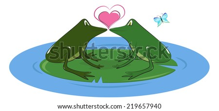Two Frogs in Love Two Lovers Frogs on Lily Pad