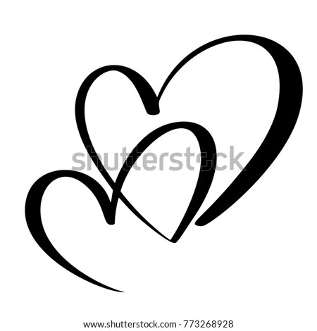 Two lovers heart. Handmade vector calligraphy. Decor for greeting card, mug, photo overlays, t-shirt print, flyer, poster design