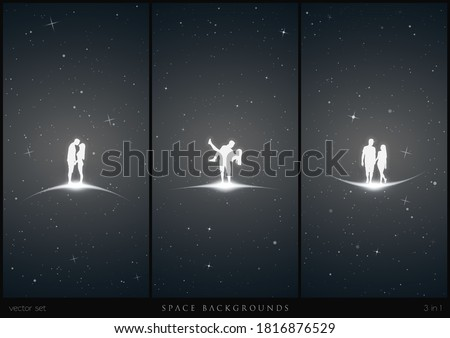 two lovers in space white