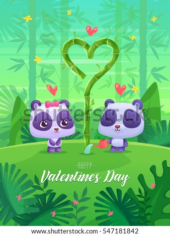 Two lovers panda pour bamboo on the jungle background. Modern design stylish illustration. Valentines Day Card.