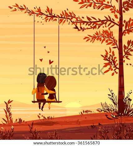 two lovers sitting on a swing