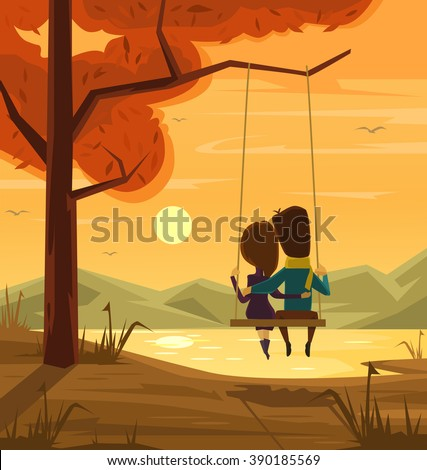 two lovers sitting on swing at