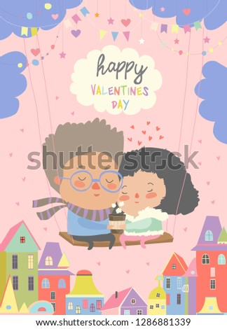 two lovers sitting on swing
