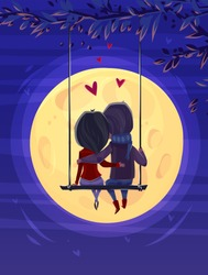 Two lovers sitting on the swing on the moon background. Modern design stylish illustration. Retro flat vector background. Valentines Day Card.