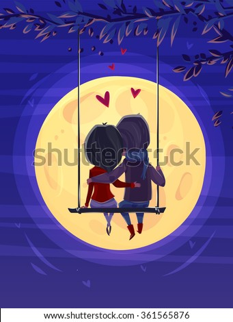 two lovers sitting on the swing