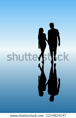 two lovers walk after rain