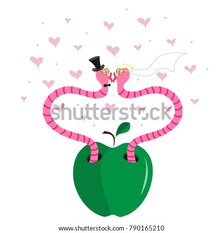 Two lovers worm in an apple kissing against the background of flying hearts.