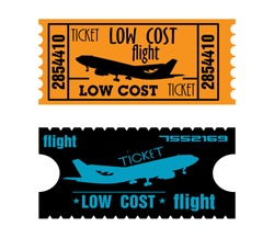 Two low cost flight tickets isolated on a white background