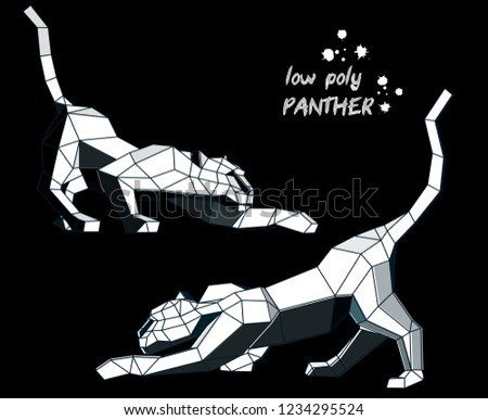 two low poly panthers  on a