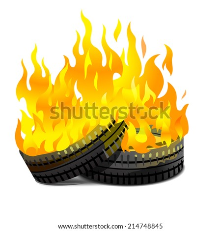 two lying burning tires