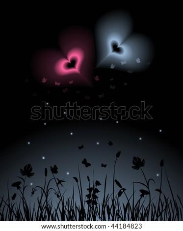 Two magic hearts shining over the night garden
